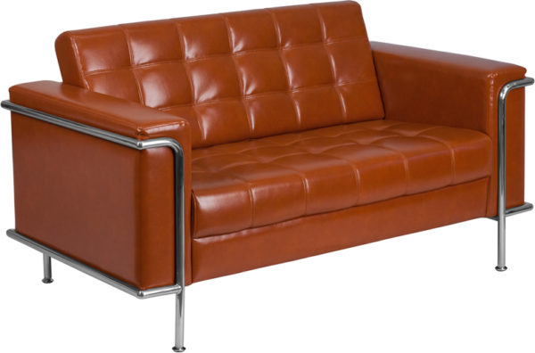 Wholesale HERCULES Lesley Series Contemporary Cognac Leather Loveseat with Encasing Frame