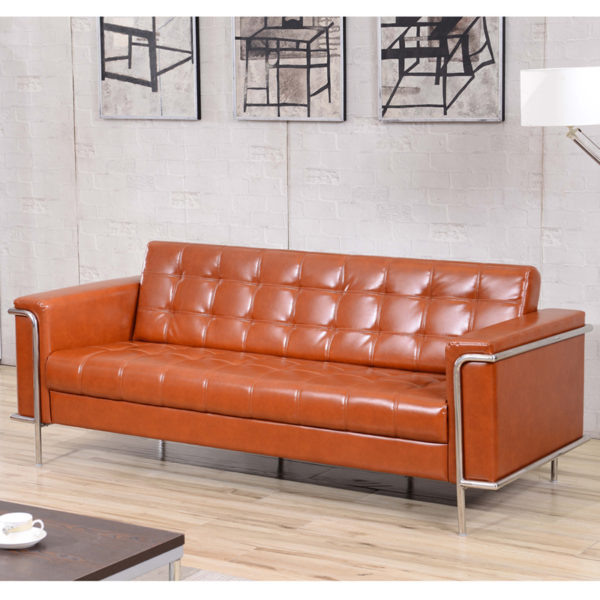 Lowest Price HERCULES Lesley Series Contemporary Cognac Leather Sofa with Encasing Frame