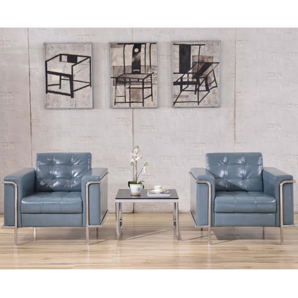 Lowest Price HERCULES Lesley Series Contemporary Gray Leather Chair with Encasing Frame