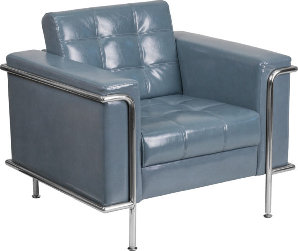 Wholesale HERCULES Lesley Series Contemporary Gray Leather Chair with Encasing Frame