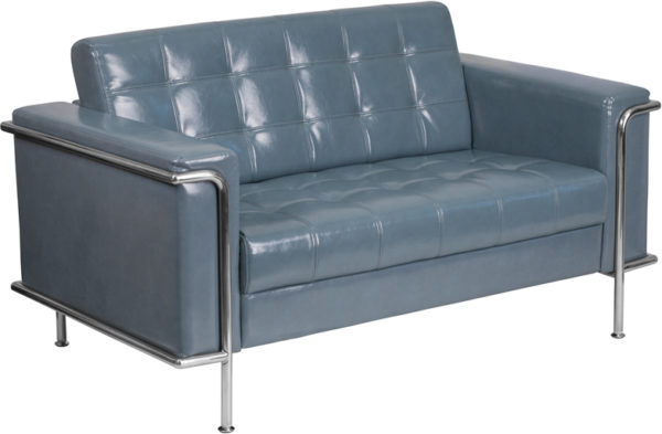Wholesale HERCULES Lesley Series Contemporary Gray Leather Loveseat with Encasing Frame