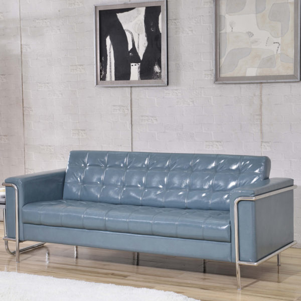 Lowest Price HERCULES Lesley Series Contemporary Gray Leather Sofa with Encasing Frame