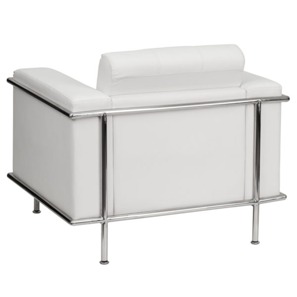 Lowest Price HERCULES Lesley Series Contemporary Melrose White Leather Chair with Encasing Frame