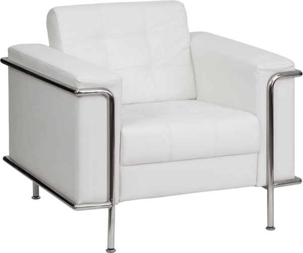 Wholesale HERCULES Lesley Series Contemporary Melrose White Leather Chair with Encasing Frame