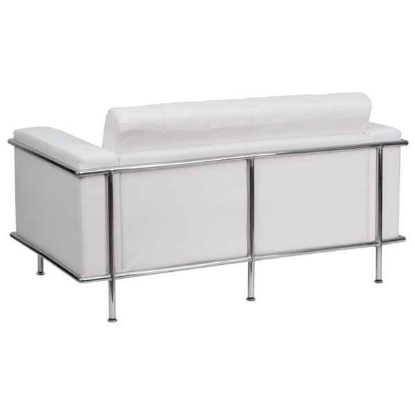 Lowest Price HERCULES Lesley Series Contemporary Melrose White Leather Loveseat with Encasing Frame