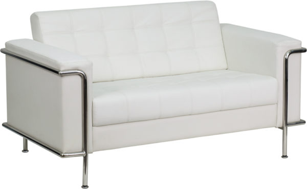 Wholesale HERCULES Lesley Series Contemporary Melrose White Leather Loveseat with Encasing Frame