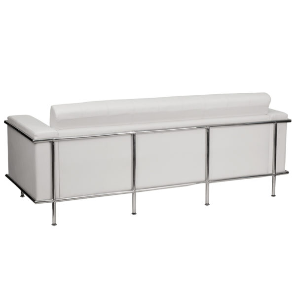 Lowest Price HERCULES Lesley Series Contemporary Melrose White Leather Sofa with Encasing Frame