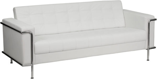 Wholesale HERCULES Lesley Series Contemporary Melrose White Leather Sofa with Encasing Frame