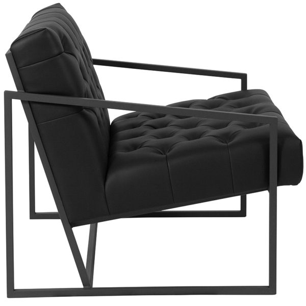 Lowest Price HERCULES Madison Series Black Leather Tufted Lounge Chair