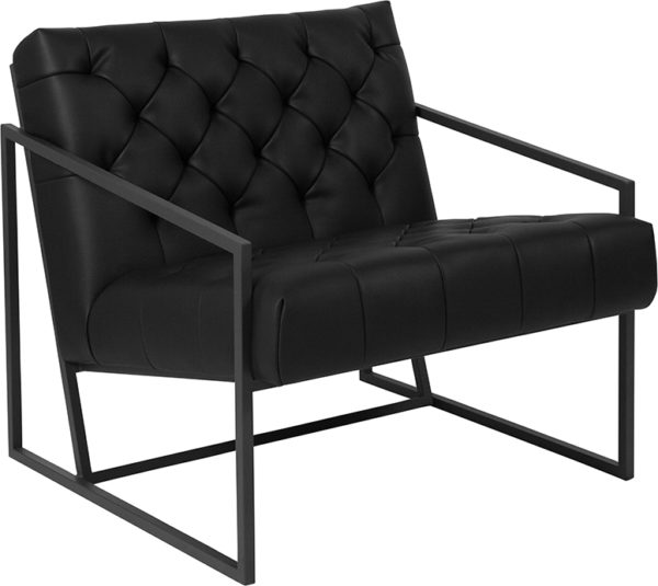 Wholesale HERCULES Madison Series Black Leather Tufted Lounge Chair