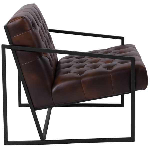 Lowest Price HERCULES Madison Series Bomber Jacket Leather Tufted Lounge Chair