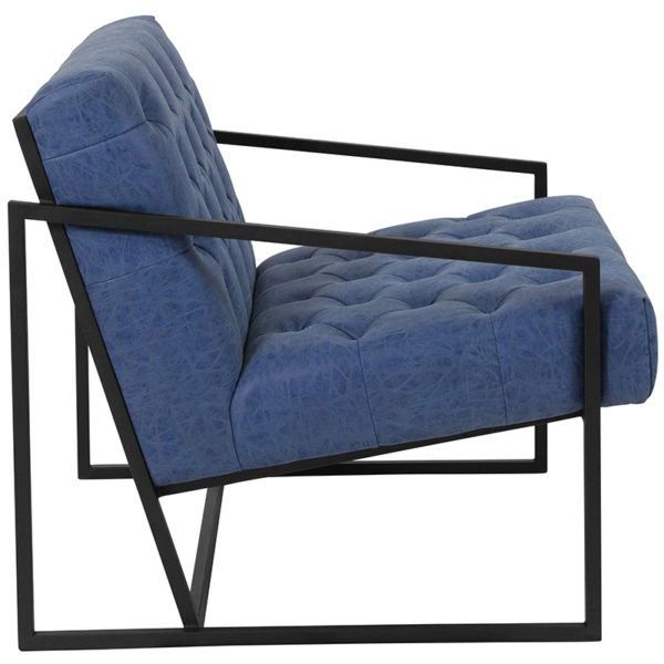 Lowest Price HERCULES Madison Series Retro Blue Leather Tufted Lounge Chair