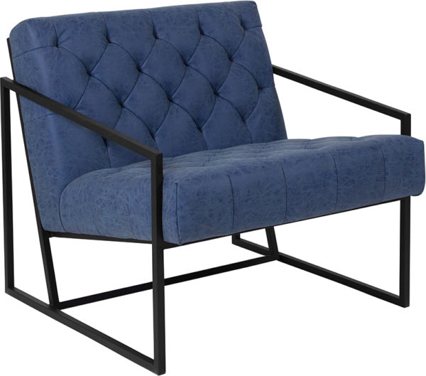 Wholesale HERCULES Madison Series Retro Blue Leather Tufted Lounge Chair