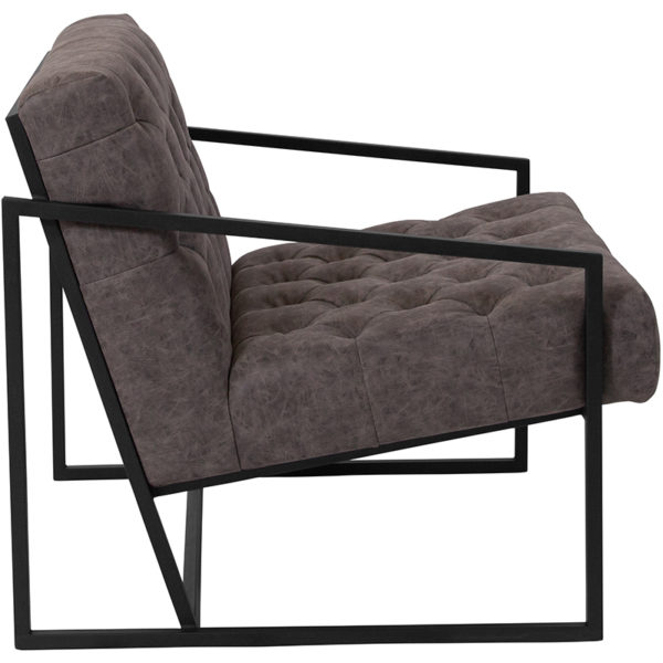 Lowest Price HERCULES Madison Series Retro Gray Leather Tufted Lounge Chair