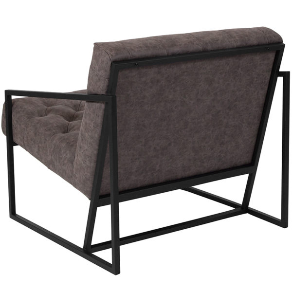 Transitional Style Retro Gray Leather Chair