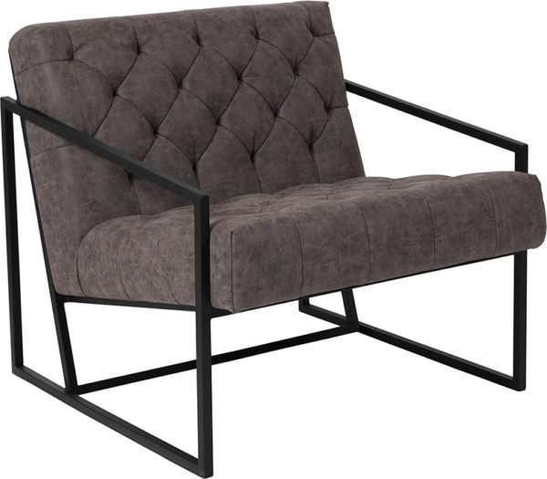 Wholesale HERCULES Madison Series Retro Gray Leather Tufted Lounge Chair