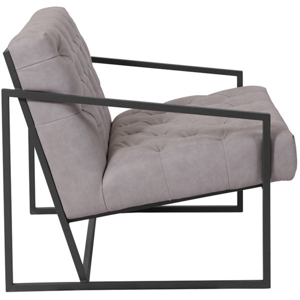 Lowest Price HERCULES Madison Series Retro Light Gray Leather Tufted Lounge Chair