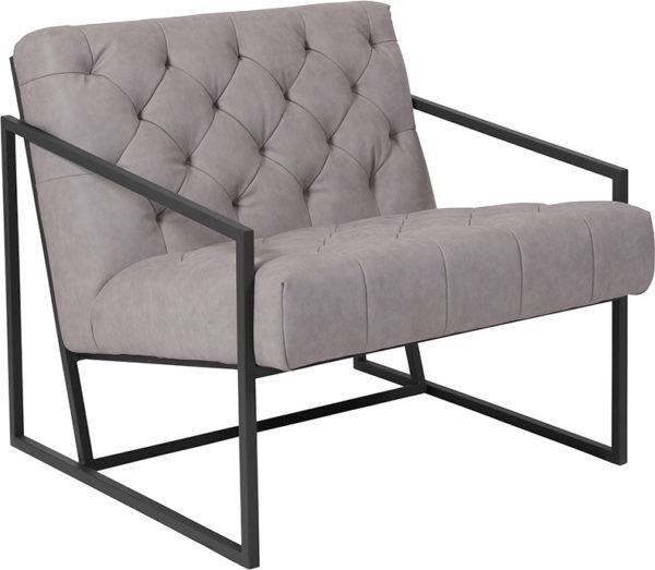 Wholesale HERCULES Madison Series Retro Light Gray Leather Tufted Lounge Chair