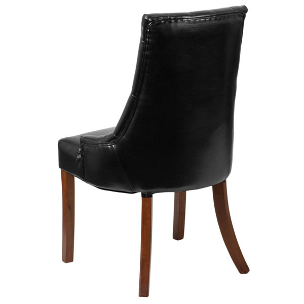 Accent Side Chair Black Leather Tufted Chair