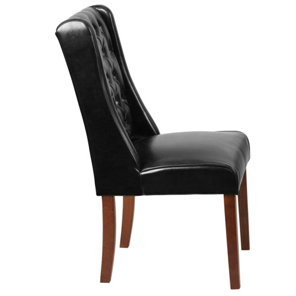 Lowest Price HERCULES Preston Series Black Leather Tufted Parsons Chair