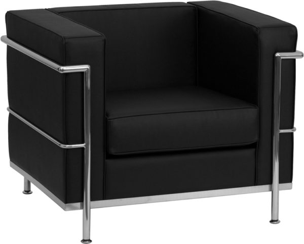 Wholesale HERCULES Regal Series Contemporary Black Leather Chair with Encasing Frame