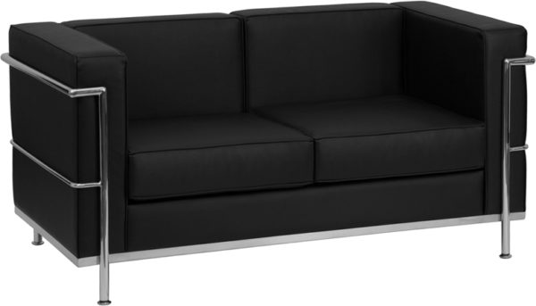 Wholesale HERCULES Regal Series Contemporary Black Leather Loveseat with Encasing Frame