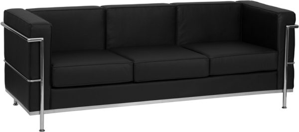 Wholesale HERCULES Regal Series Contemporary Black Leather Sofa with Encasing Frame