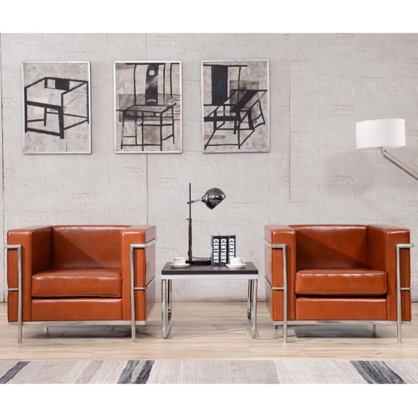 Lowest Price HERCULES Regal Series Contemporary Cognac Leather Chair with Encasing Frame