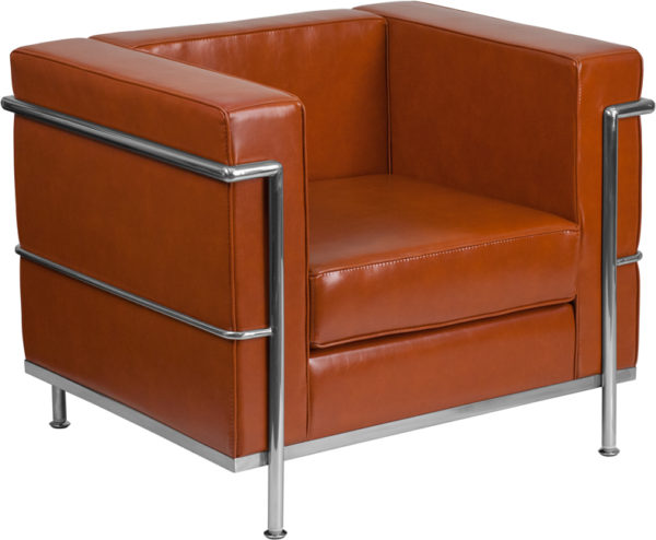 Wholesale HERCULES Regal Series Contemporary Cognac Leather Chair with Encasing Frame