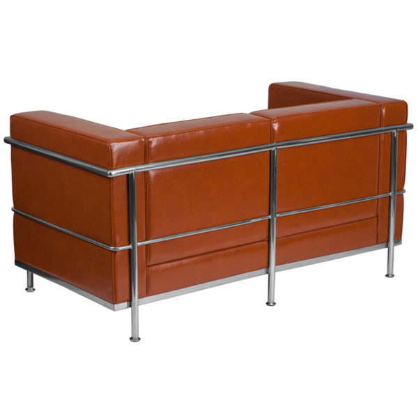 Lowest Price HERCULES Regal Series Contemporary Cognac Leather Loveseat with Encasing Frame