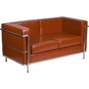 Wholesale HERCULES Regal Series Contemporary Cognac Leather Loveseat with Encasing Frame