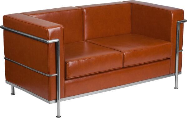 Wholesale HERCULES Regal Series Contemporary Cognac Leather Loveseat with Encasing Frame