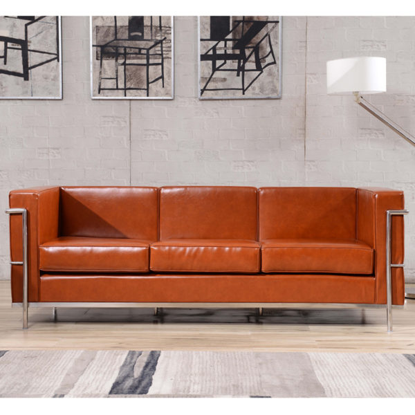 Lowest Price HERCULES Regal Series Contemporary Cognac Leather Sofa with Encasing Frame