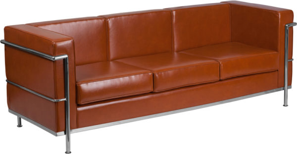 Wholesale HERCULES Regal Series Contemporary Cognac Leather Sofa with Encasing Frame