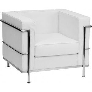 Wholesale HERCULES Regal Series Contemporary Melrose White Leather Chair with Encasing Frame