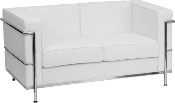 Wholesale HERCULES Regal Series Contemporary Melrose White Leather Loveseat with Encasing Frame
