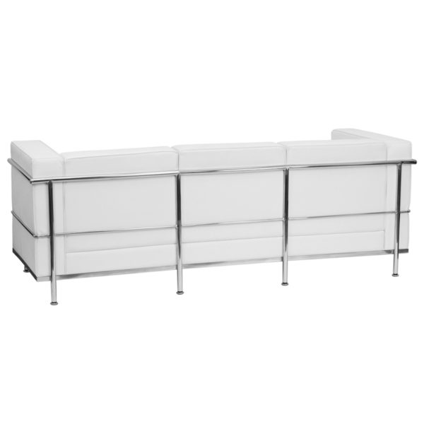 Lowest Price HERCULES Regal Series Contemporary Melrose White Leather Sofa with Encasing Frame