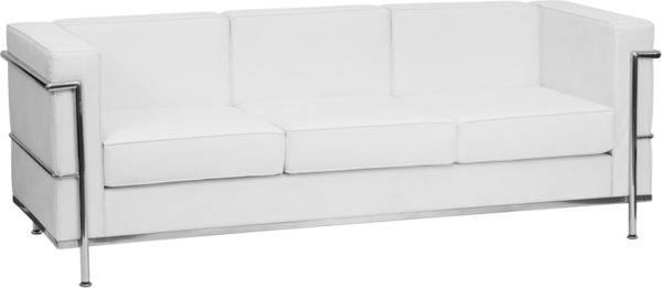 Wholesale HERCULES Regal Series Contemporary Melrose White Leather Sofa with Encasing Frame