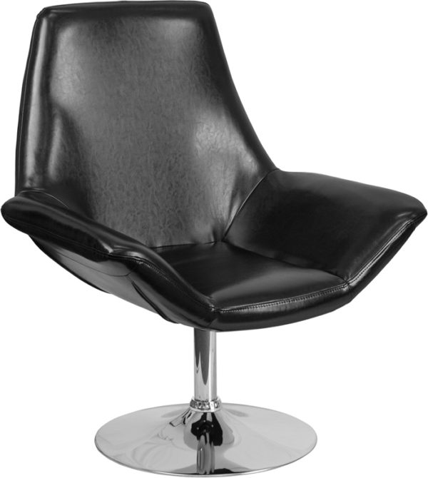 Wholesale HERCULES Sabrina Series Black Leather Side Reception Chair