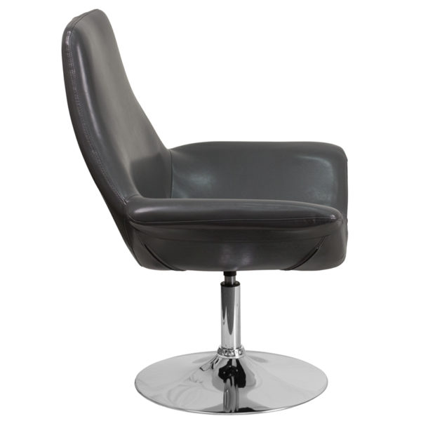 Lowest Price HERCULES Sabrina Series Gray Leather Side Reception Chair