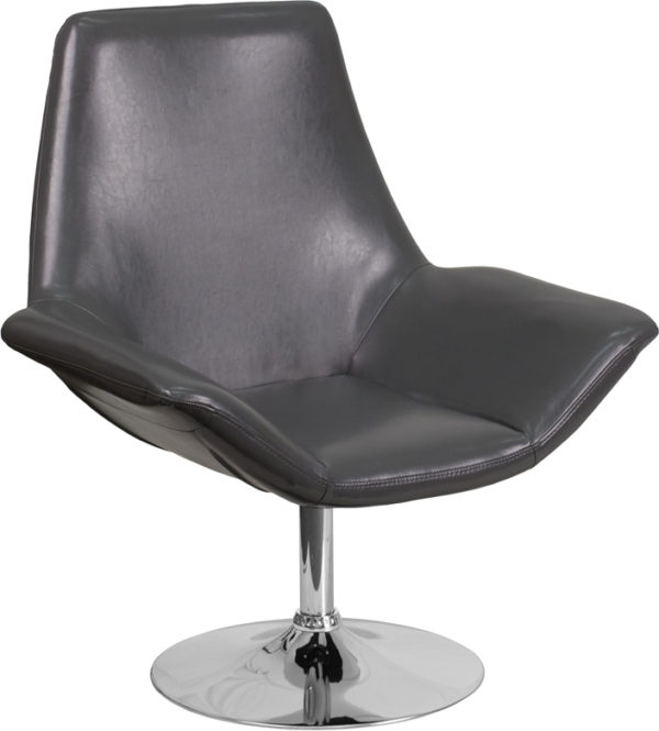 Wholesale HERCULES Sabrina Series Gray Leather Side Reception Chair