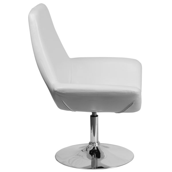 Lowest Price HERCULES Sabrina Series White Leather Side Reception Chair