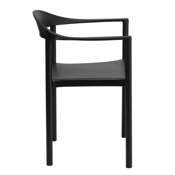 Lowest Price HERCULES Series 1000 lb. Capacity Black Plastic Cafe Stack Chair
