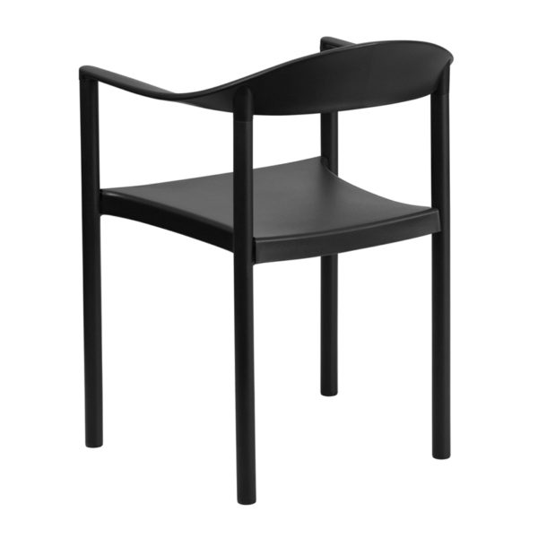 Multipurpose Stack Chair Black Plastic Stack Cafe Chair