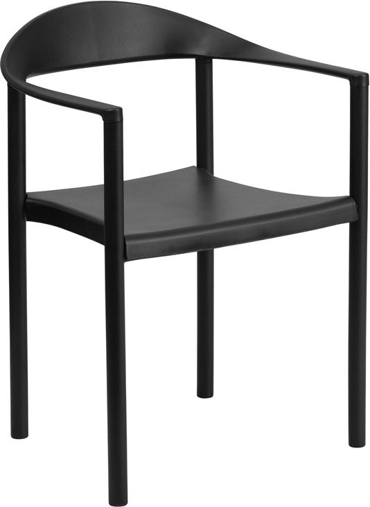 Wholesale HERCULES Series 1000 lb. Capacity Black Plastic Cafe Stack Chair