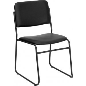 Wholesale HERCULES Series 1000 lb. Capacity High Density Black Vinyl Stacking Chair with Sled Base