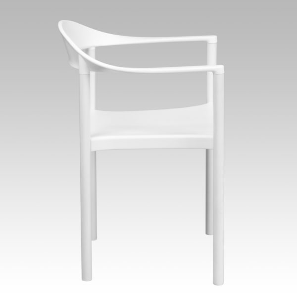 Lowest Price HERCULES Series 1000 lb. Capacity White Plastic Cafe Stack Chair