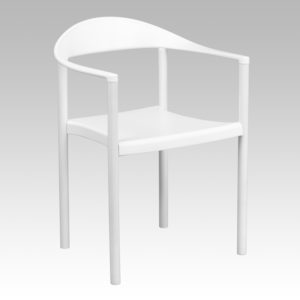 Wholesale HERCULES Series 1000 lb. Capacity White Plastic Cafe Stack Chair