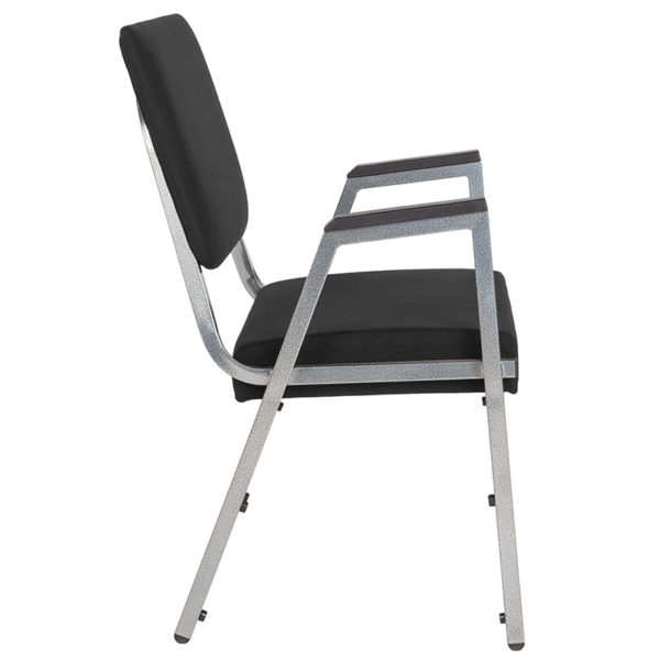 Lowest Price HERCULES Series 1500 lb. Rated Black Antimicrobial Fabric Bariatric Medical Reception Arm Chair with 3/4 Panel Back