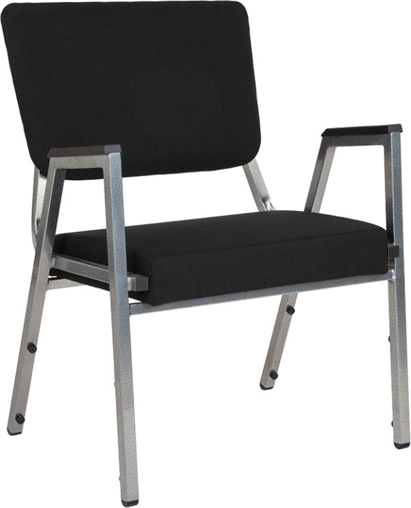 Wholesale HERCULES Series 1500 lb. Rated Black Antimicrobial Fabric Bariatric Medical Reception Arm Chair with 3/4 Panel Back